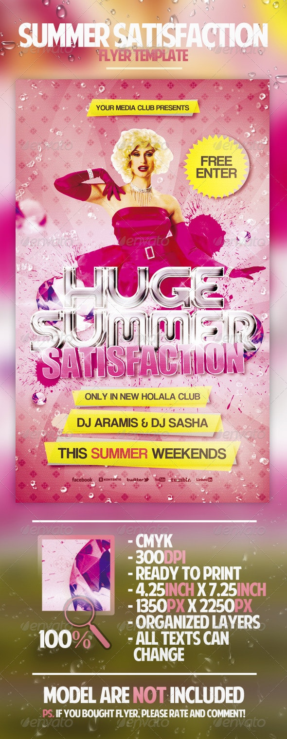 Summer Satisfaction Flyer Template - Clubs & Parties Events