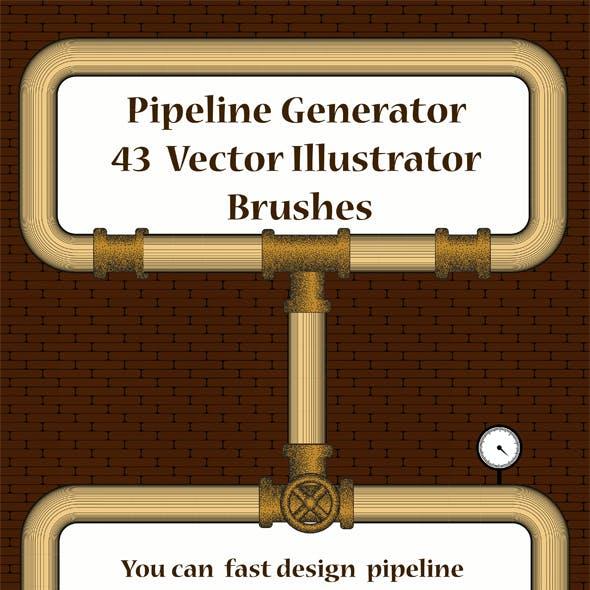 Pipeline Generator - 43 Pipes Adobe Illustrator Pattern Brushes