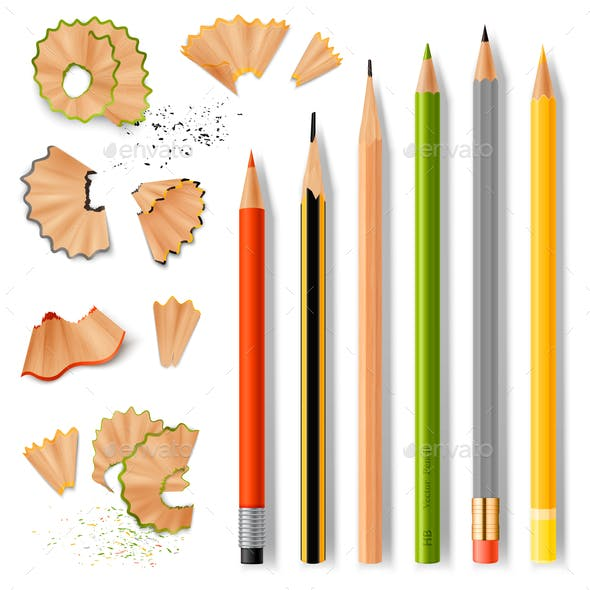 Sharpened Wooden Pencils and Shavings
