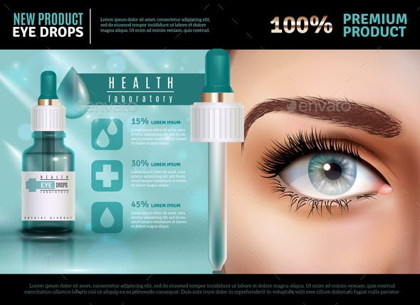 Eye Drops Realistic Advertising Poster
