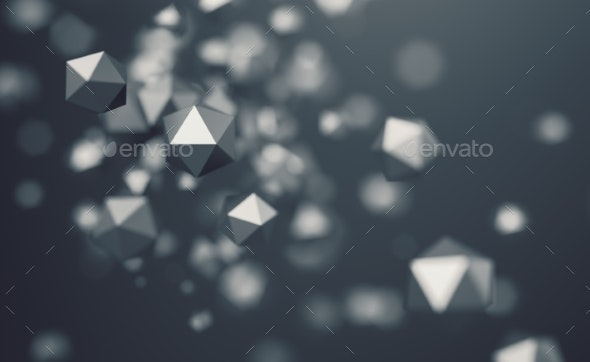 Abstract 3D Rendering of Flying Polygonal Spheres - 3D Backgrounds