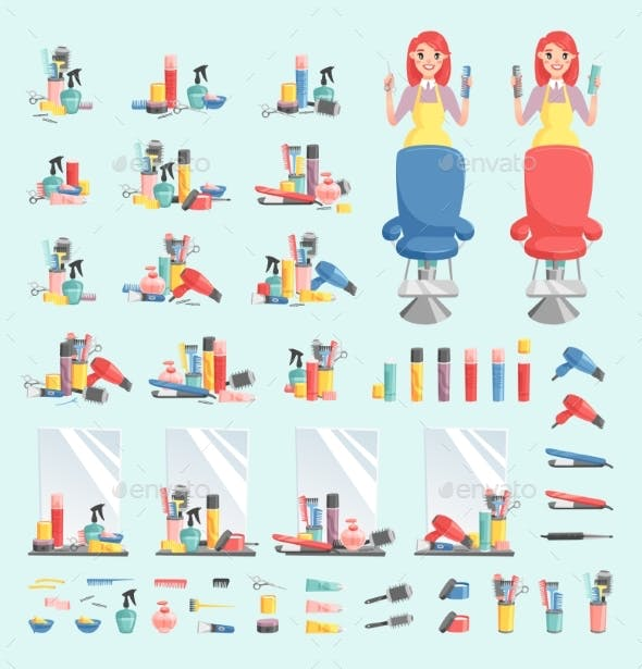Vector Girl Hairdresser with Hair Clipper and Hair