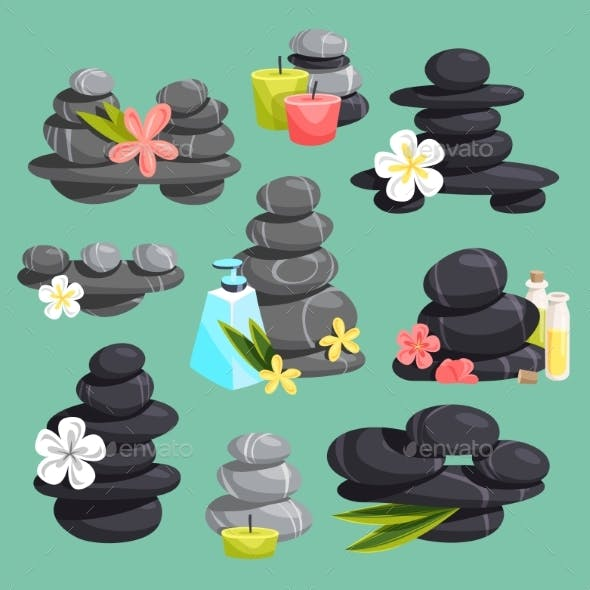 Spa Stones Vector Stack Beauty Hot Procedure