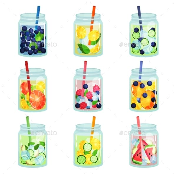 Flat Vector Set of Delicious Detox Drinks