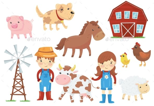 Flat Vector Illustration of Various Domestic