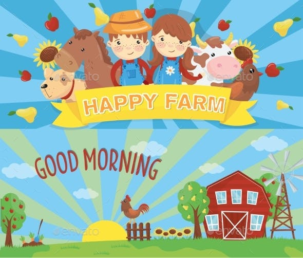 Cartoon Farm Banners. Rural Landscape with Wooden