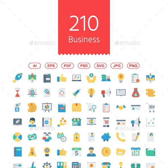 210 Startup & Business Flat icons