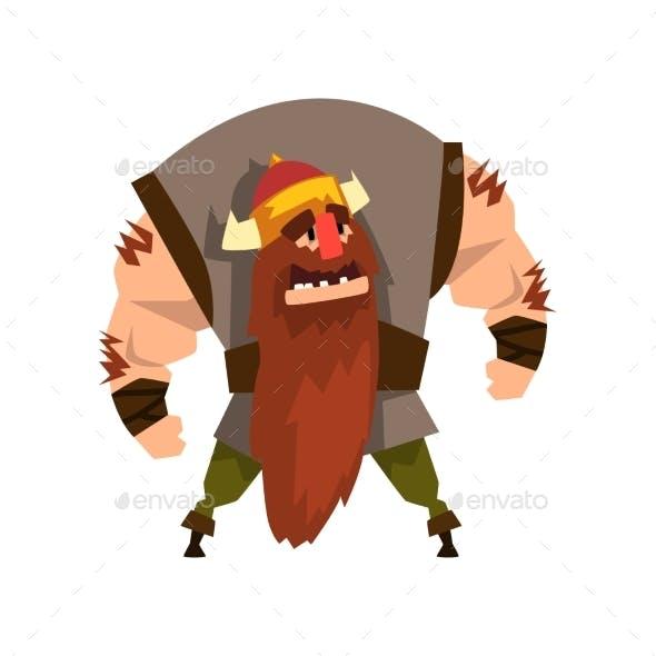 Viking Warrior Character in Helmet with Horns