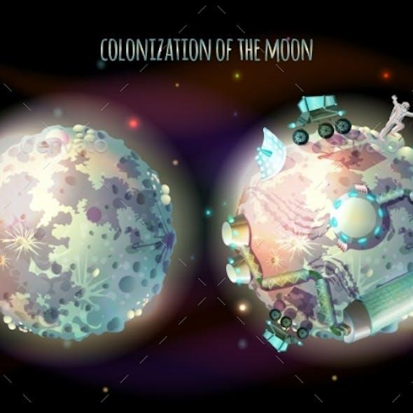 Colonization of Moon Vector Concept Illustration