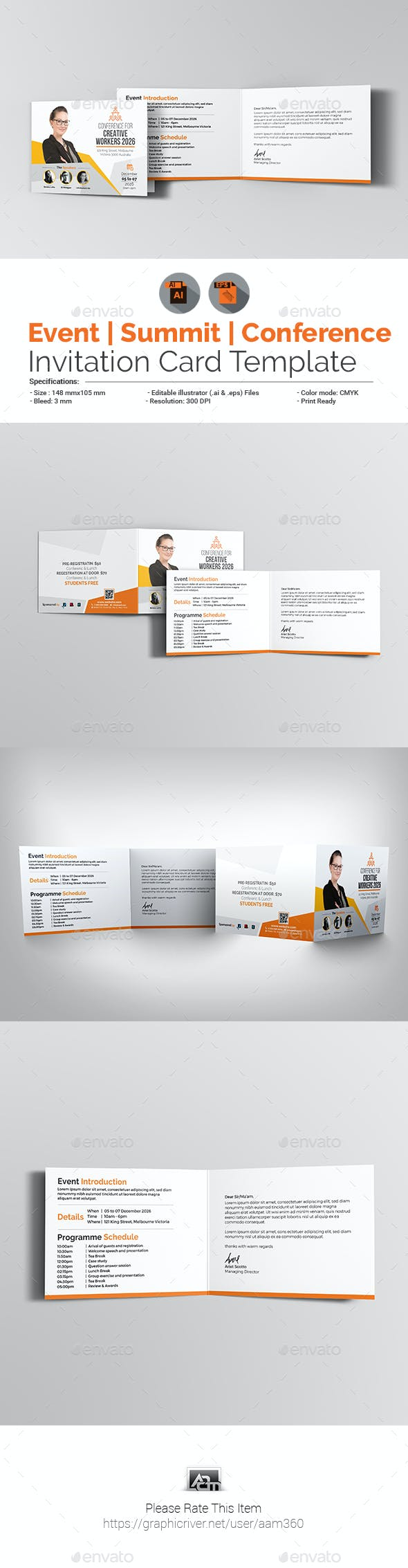 Event Summit Conference Invitation Card Template