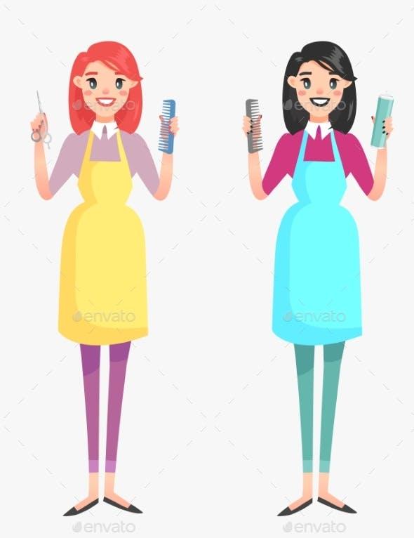Vector Girl Hairdresser