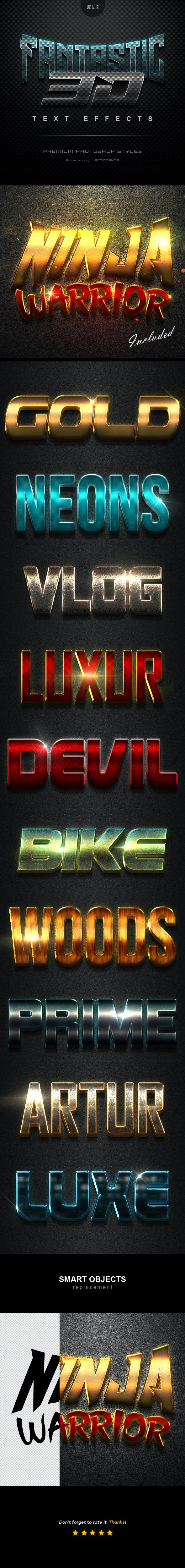 3D Text Effects Vol.8 - Text Effects Styles