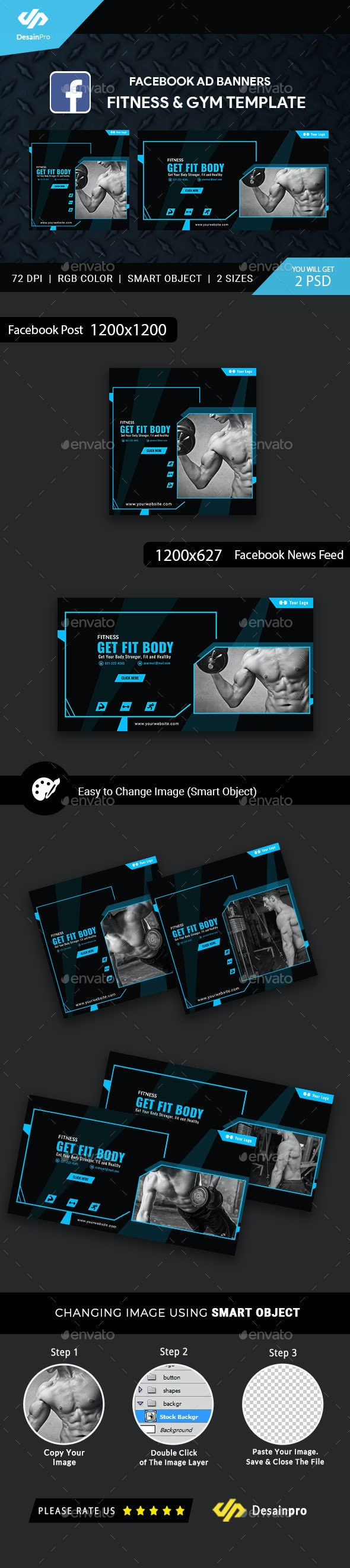 Fitness and Gym Facebook Ad Banners - AR by DesainPro