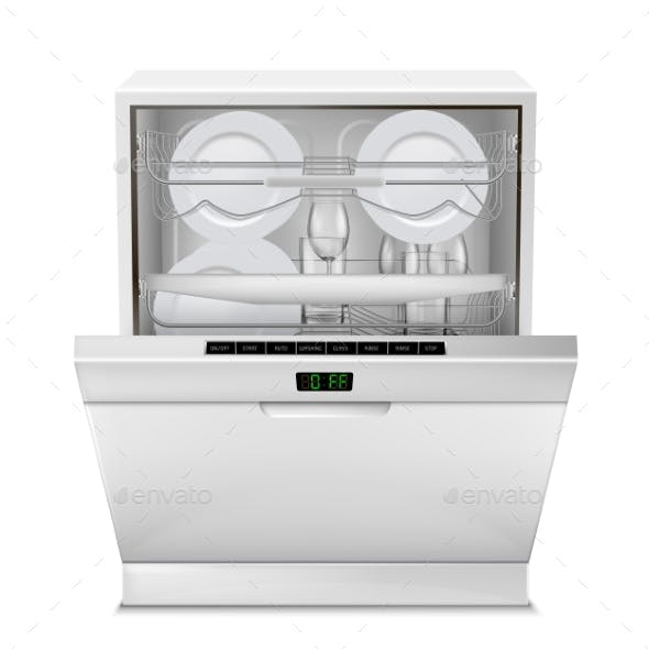 Vector Realistic Dishwasher Machine with Dishes