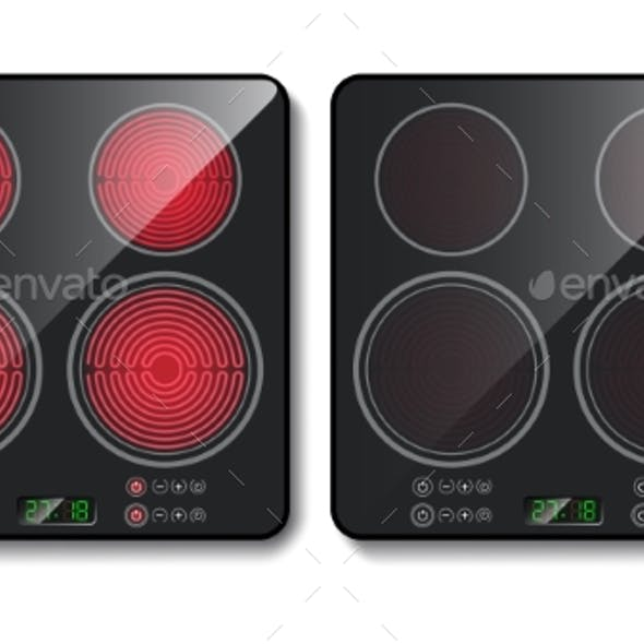 Vector Realistic Black Induction Cook Top