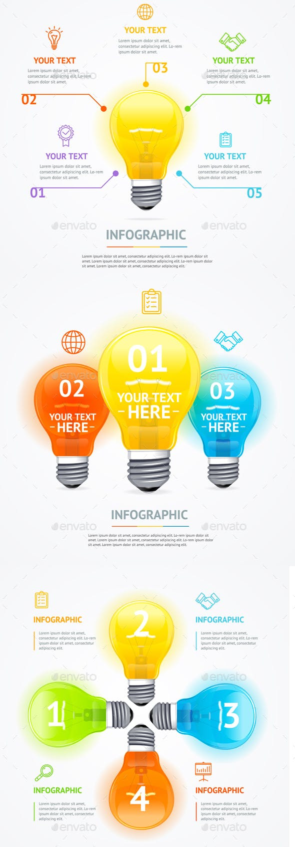 Business Infographic Electric Light Bulb Banner Card