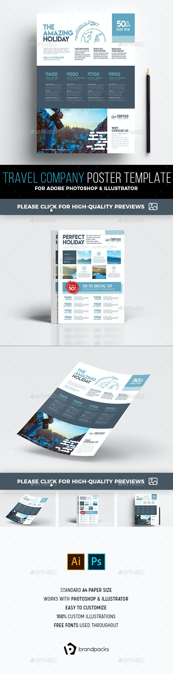 A4 Travel Company Poster/Advertisement Template - Corporate Flyers