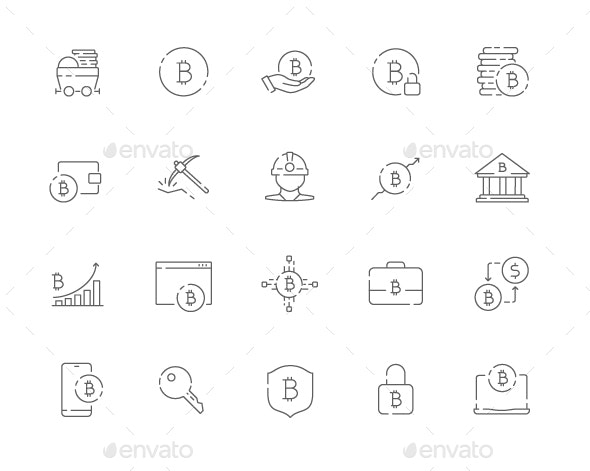 Simple Set of Bitcoin Vector Thin Line Web Icons - Icons