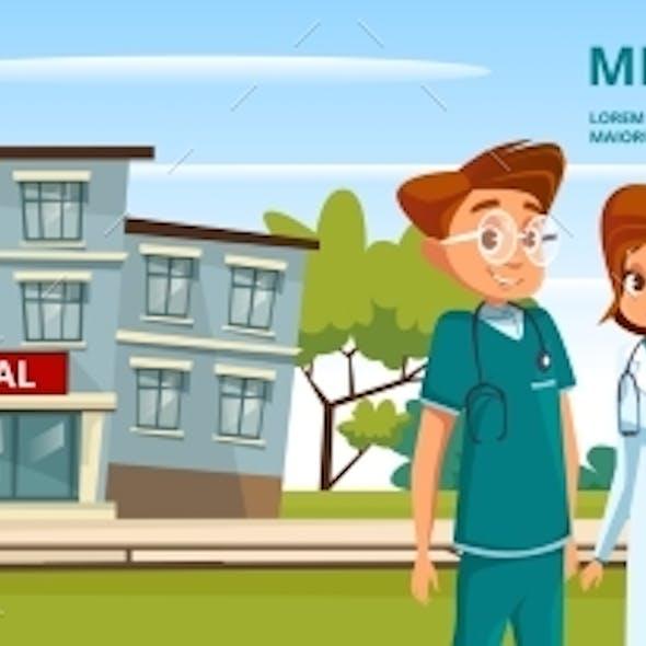 Vector Cartoon Man Woman Doctors Medical Service