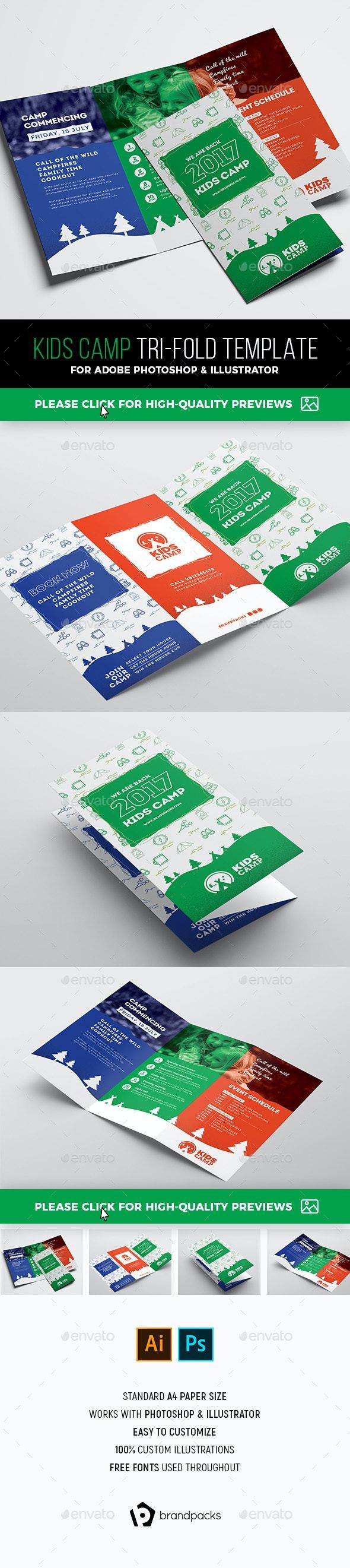 Kids Camp Tri-Fold Brochure Template - Corporate Brochures