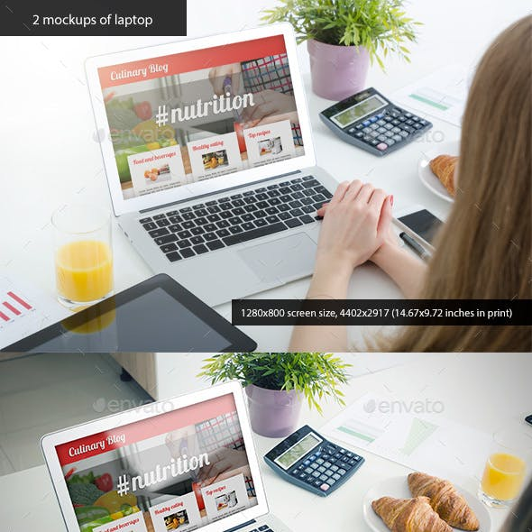2 Mockups of Laptop with Woman Hands