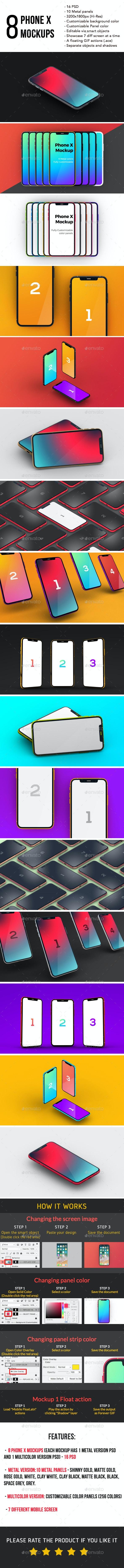 8 Phone X Mockups (16 Hi-Res PSD) - Mobile Displays