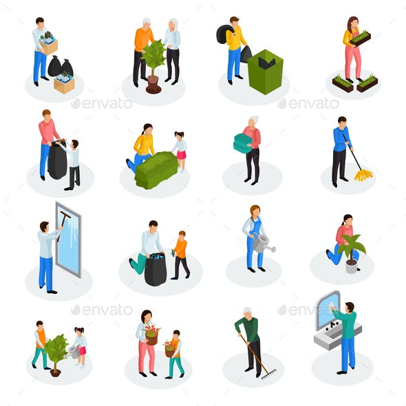 Cleaning Isometric Icons