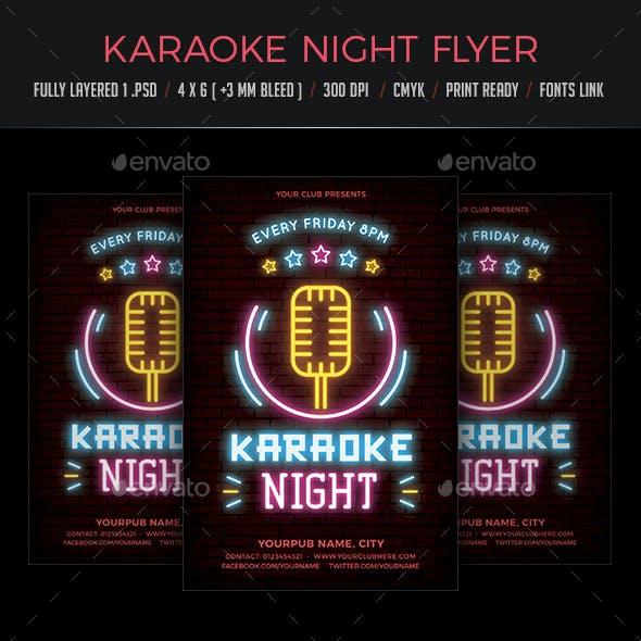 Karaoke Night Neon Flyer