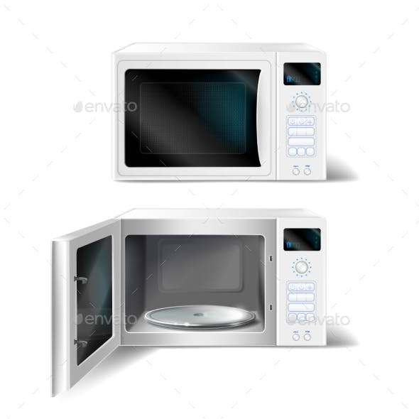Vector Microwave Oven With Gl Plate Inside Man Made Objects