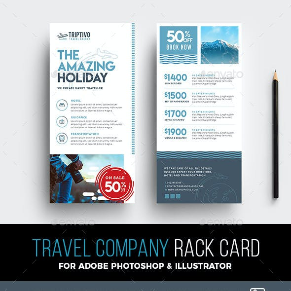 DL Travel Company Rack Card Template