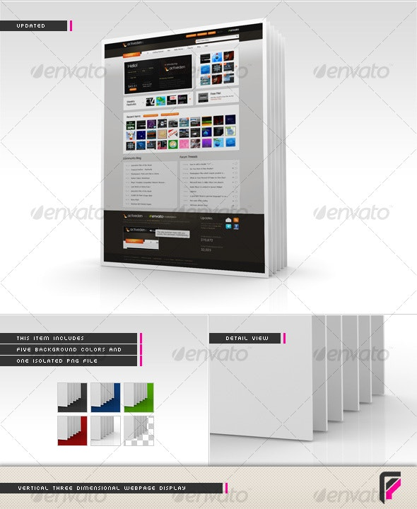 3D Webpage Display (Vertical) - Miscellaneous Web Elements
