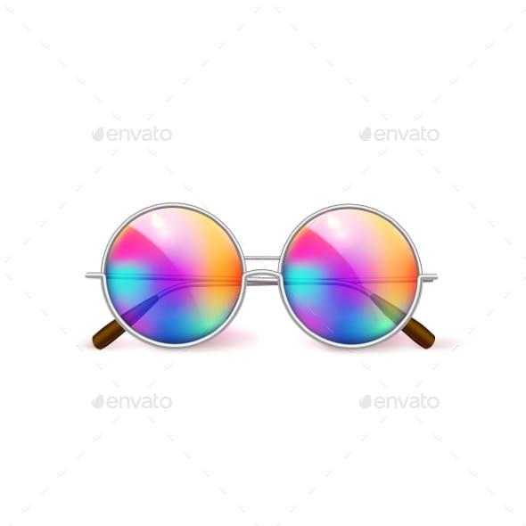 Vector Realistic Retro Circle Eyeglasses