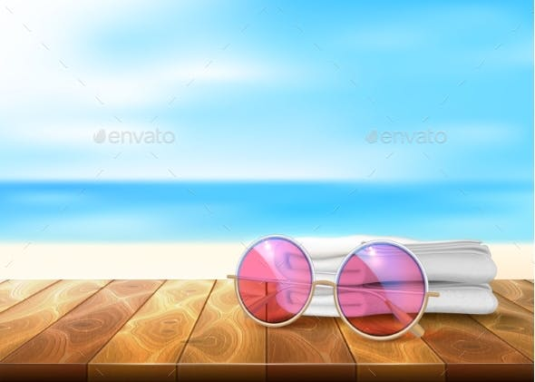 Vector Wood Floor Seaside with Sunglasses and Towel