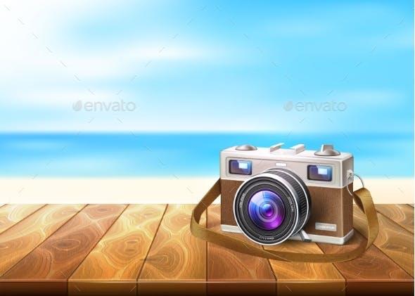 Vector Photo Camera on Wood Walkway Seaside