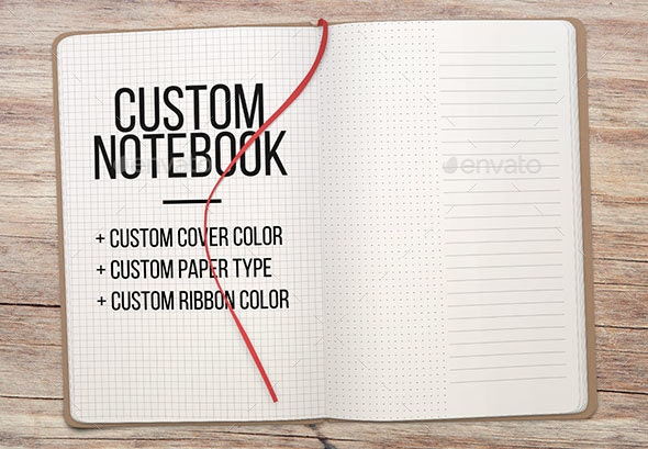 High Res Customizable Open Notepad Mockup - Books Print
