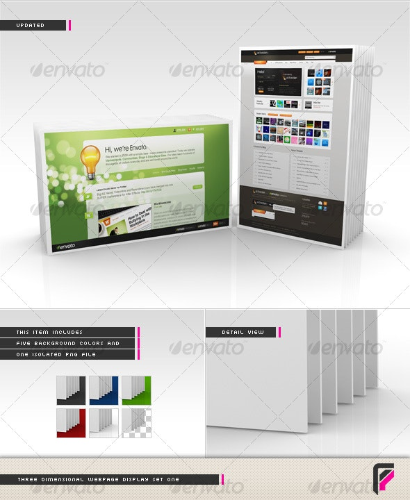 3D Webpage Display (Set One) - Miscellaneous Web Elements