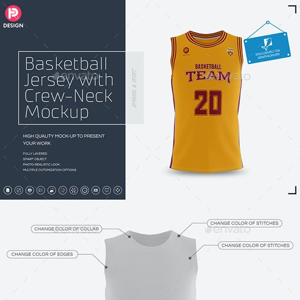 Basketball Jersey with Crew-Neck Mockup