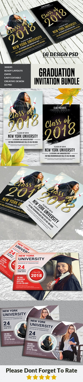 Graduation Invitation Cards Bundle - Cards & Invites Print Templates