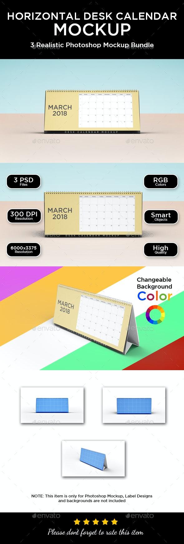 Horizontal Desk Calendar Mockup - Print Product Mock-Ups