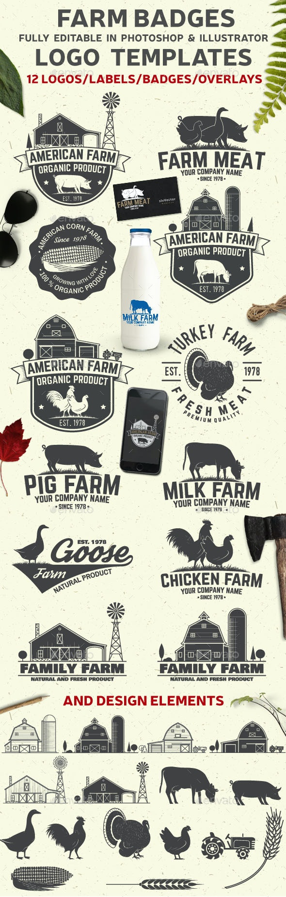 American Farm Badges and Labels - Badges & Stickers Web Elements