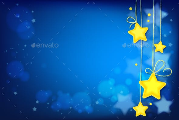 Shining Magic Stars on Dark Blue Background
