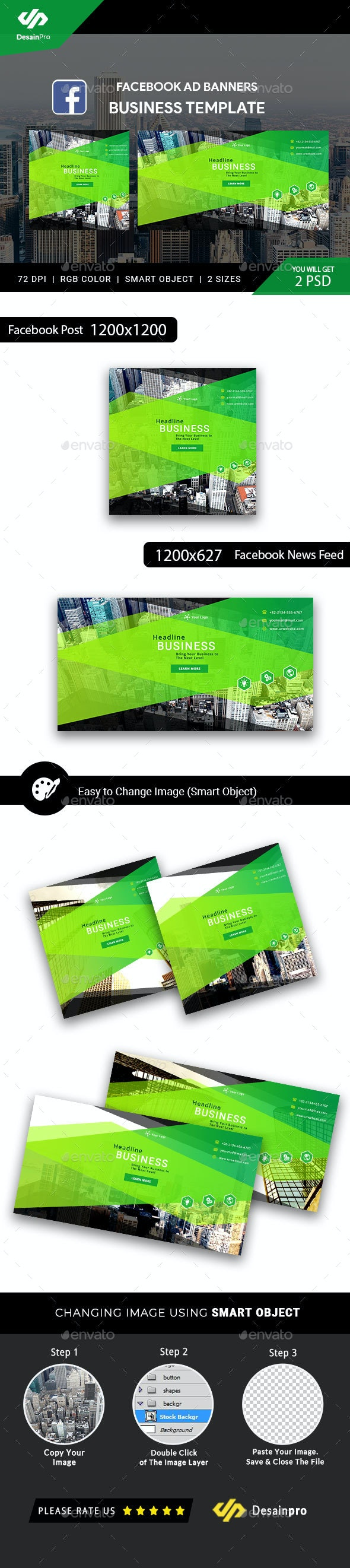Business Solutions FB Ad Banners - AR - Social Media Web Elements