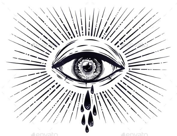 All Seeing Eye Crying Watery Tears