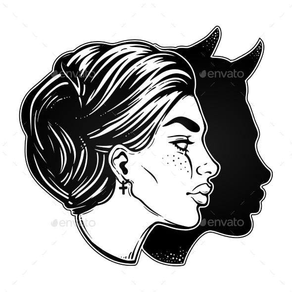 Woman with Imp Shadow Head Portrait