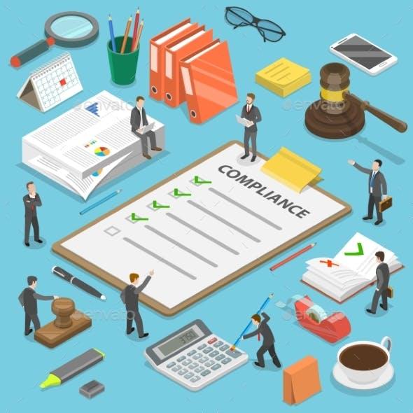 Regulatory Compliance Flat Isometric Vector