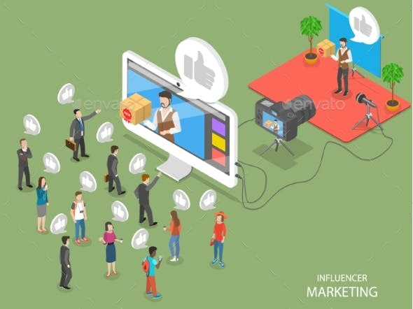 Influencer Marketing Flat Isometric Vector Concept
