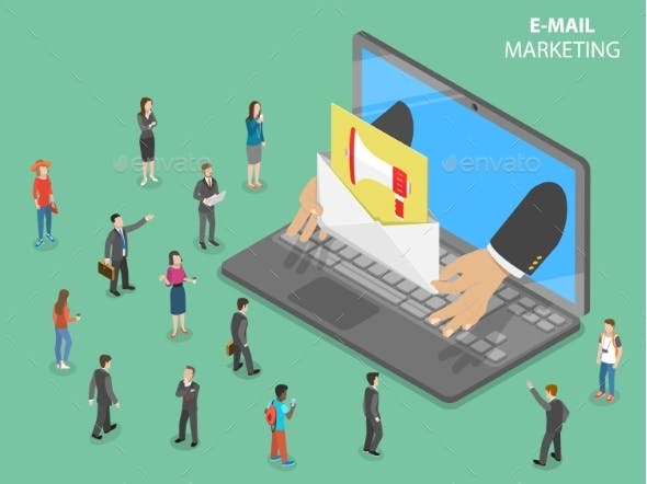 E-Mail Marketing Flat Isometric Vector Concept