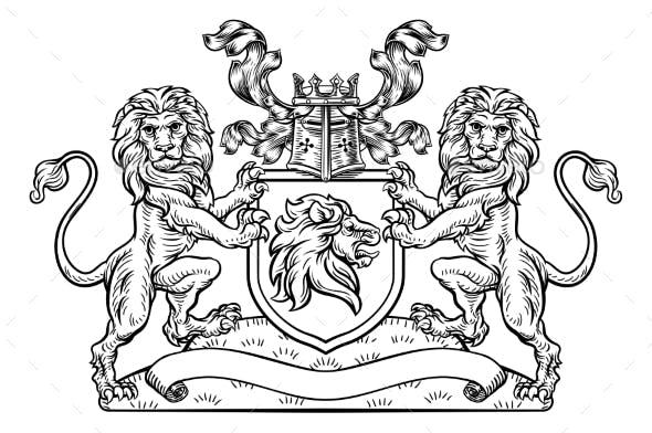 Lions Crest Shield Coat of Arms Heraldic Emblem