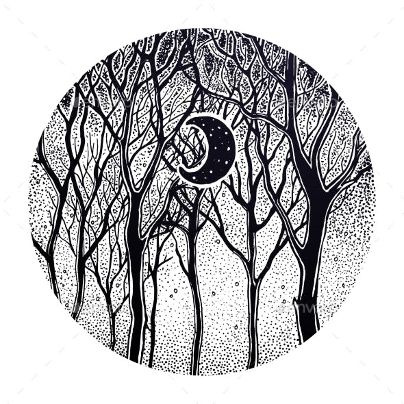 Woodland Night Tree Scenery with Crescent Moon.