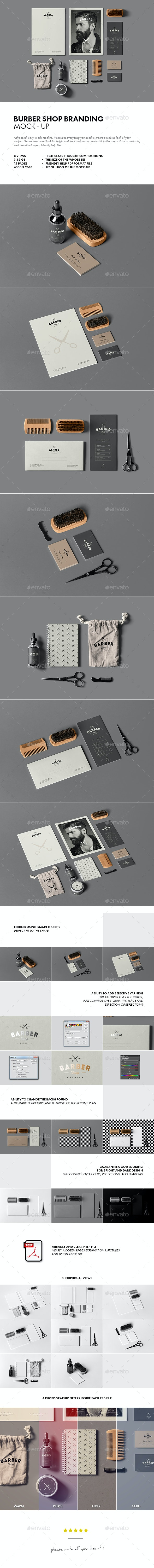Barber Shop Branding Mock-up - Stationery Print